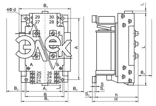 Габаритные, установочные размеры КНТ-022 и масса, вес контакторов