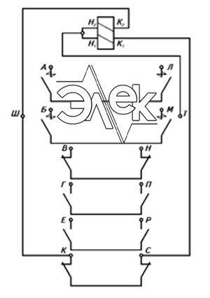 Принципиальная электрическая схема контакторов КНУ-446 / КНУ446 М (КН, КНУ 3-ей и 4-ой величины)