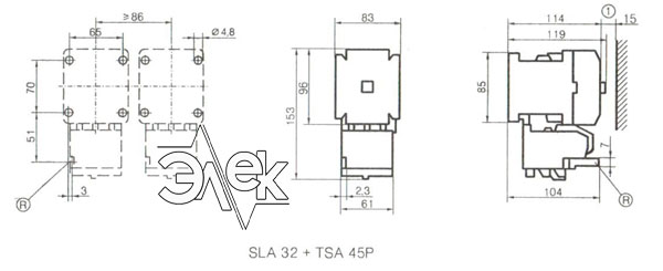 Установочные и габаритные размеры контакторов SLA-32 купить, характеристики, цена