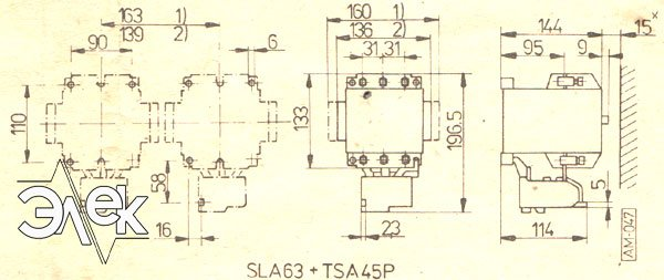 Установочные и габаритные размеры контакторов SLA-63 купить, характеристики, цена