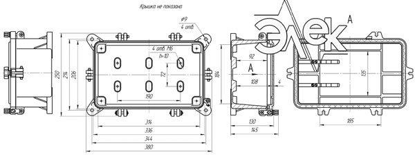 Габаритные размеры СЯ-32-23 (соединительный ящик СЯ32-23) купить характеристики цена