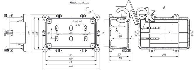 Габаритные размеры СЯ-42-25 (соединительный ящик СЯ42-25) купить характеристики цена