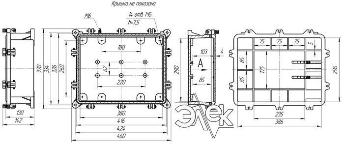 Габаритные размеры СЯ-72-18 (соединительный ящик СЯ72-18) купить характеристики цена