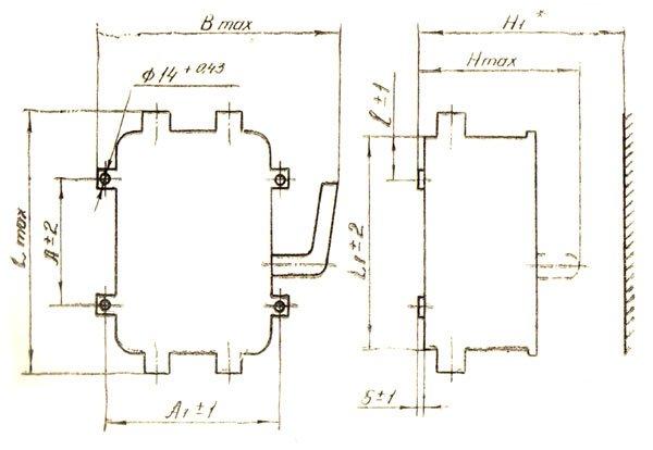 Габаритные и установочные размеры ящика с рубильником ЯРВ 212-1 (рубильник ЯРВ-212-1)