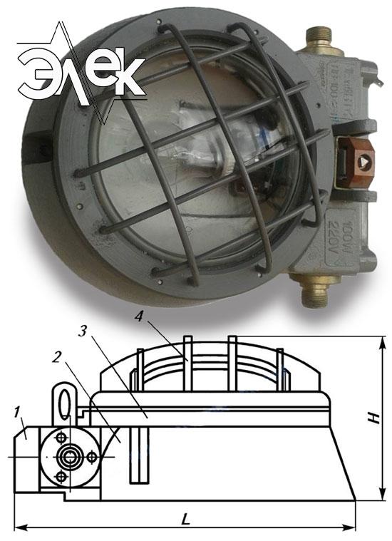 ПВ-100-2м взрывозащищенный светильник характеристики Пв 100 2м взрывобезопасный цена фото каталог судовых корабельных светильников