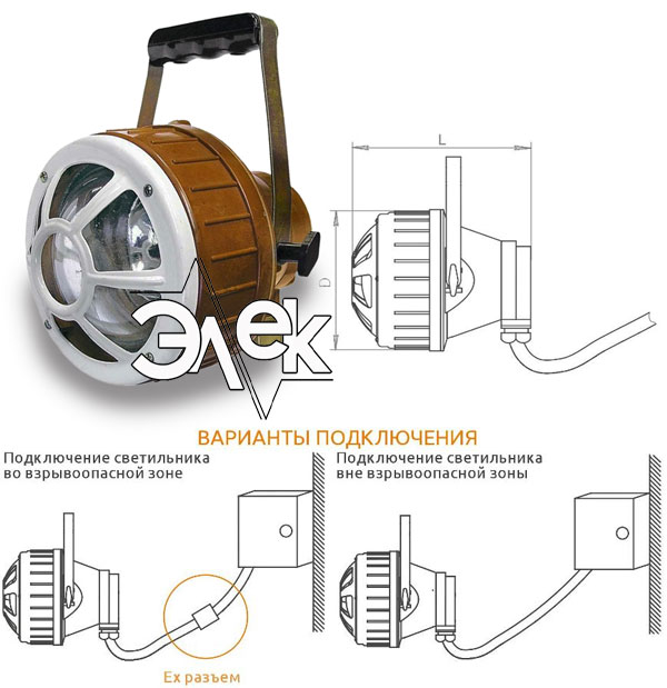 Переносный светильник ВРН-60, ВРН 60 ВРН60 взрывозащищенный переносной характеристики, цена фото каталог судовых корабельных светильников