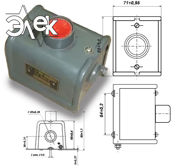 Пост КУ 122 1 кнопочный пост управления КУ-122 КУ122 В3 характеристики описание продажа купить цена