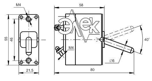 Автомат защиты сети АЗС-2 установочные и габаритные размеры