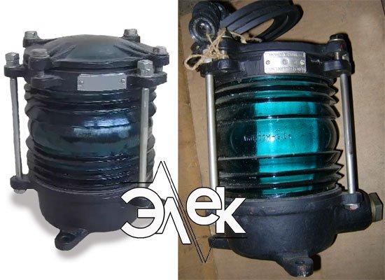 Фонарь 232У, СС-232 У глубоководный бортовой зеленый характеристики, цена фото каталог судовых корабельных светильников