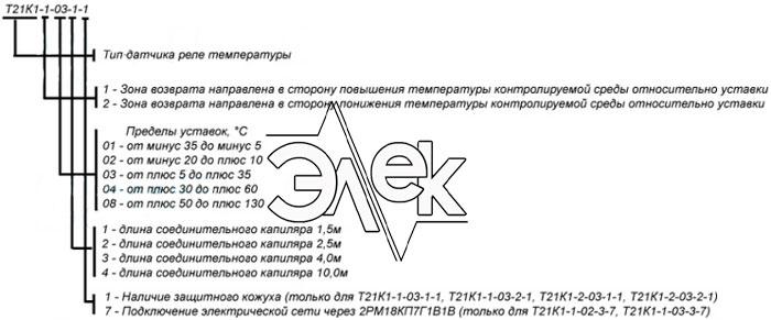 Т21К1 датчик реле температуры расшифровка паспорт термореле характеристики описание продажа цена Т21К1 Т21К1-1