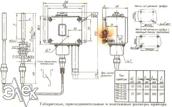 ТР К датчик реле температуры размеры габаритный характеристики описание продажа цена ТР К 04 ТР-К-04 ТРК