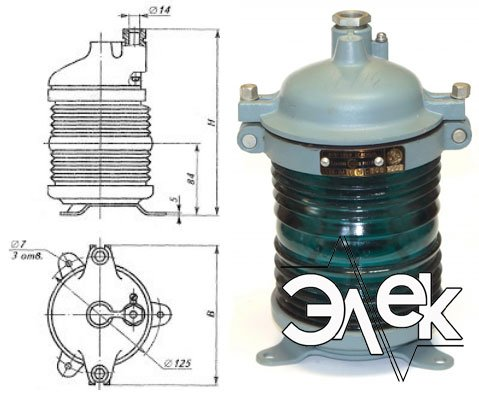 Фонарь 568В-1 М, СС-568 В-1М стационарный зеленый характеристики, цена фото каталог судовых корабельных светильников