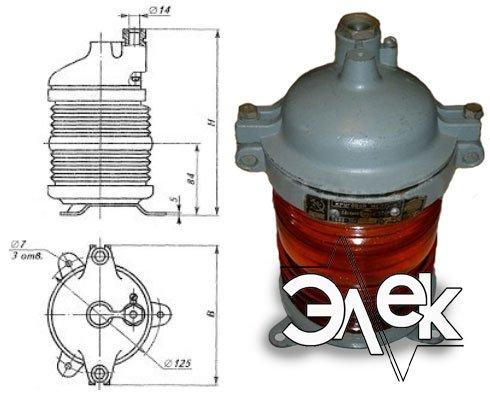 Фонарь 568В-2 М, СС-568 В-2М стационарный красный характеристики, цена фото каталог судовых корабельных светильников