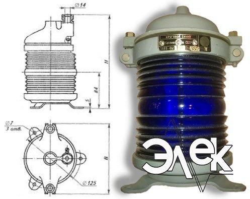 Фонарь 568В-4 М, СС-568 В-4М стационарный синий характеристики, цена фото каталог судовых корабельных светильников